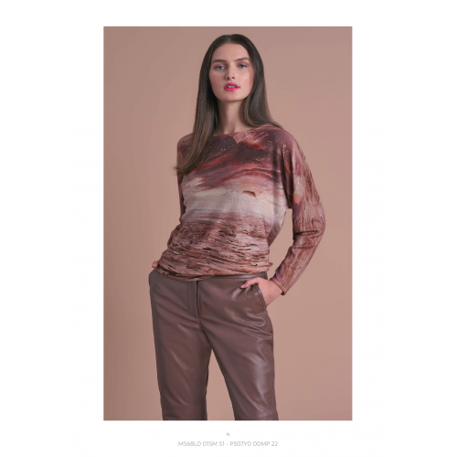 Brown Blouse with Patterns