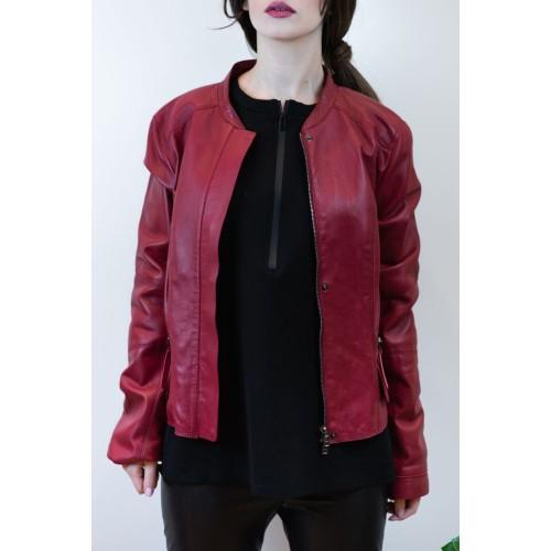 Leather Bordeaux Biker Jacket
