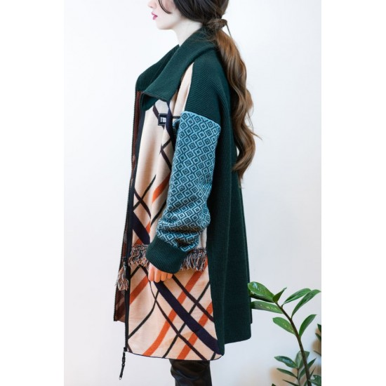 Knitted cardigan with Colorful Patterns