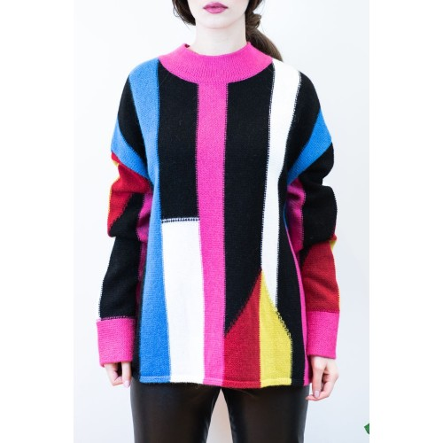 Pullover with Colorful Stripes