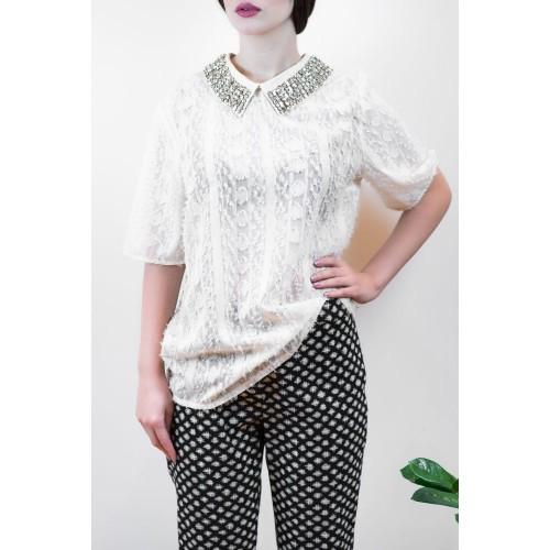 Shirt with decorative Swarovski stones in the collar