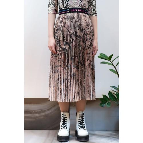 Midi Pleated Skirt Animal Print