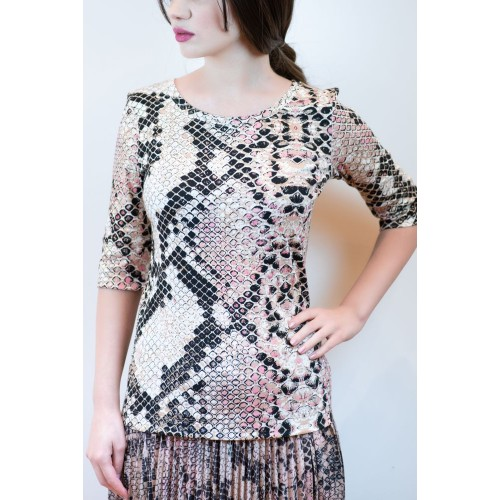 Blouse with Animal Print Pattern
