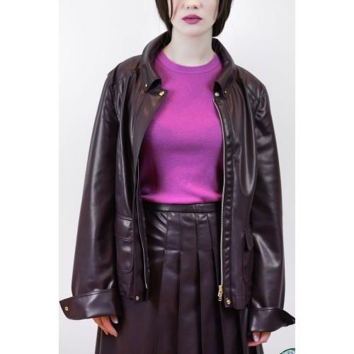 Bordeau Leather Jacket with Pleats
