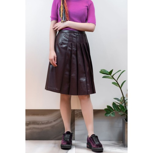 Bordeaux Leather Skirt with Pleats