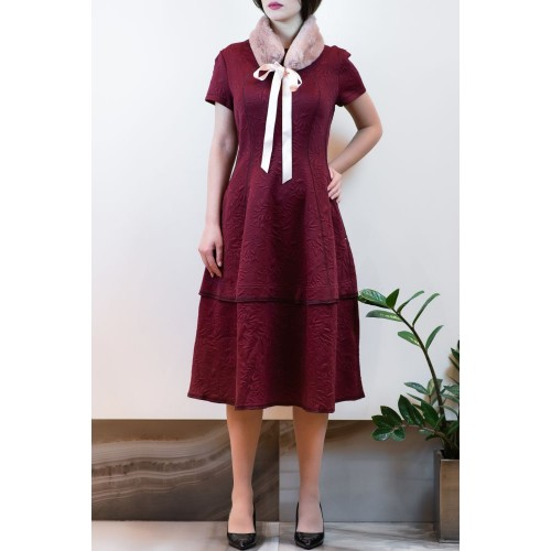 Red Dress with Embossed Designs