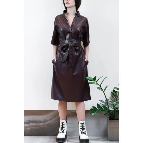 Bordeaux Leather Dress
