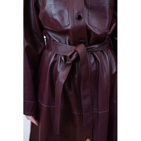 Bordeau Leather Coat