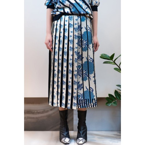Midi Skirt Blue - White with Pleats and Tearing