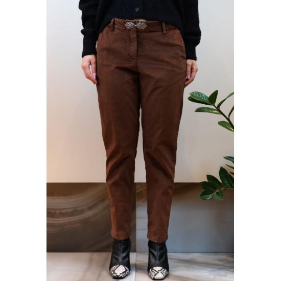 Brown Pants with Elastic and Clasp