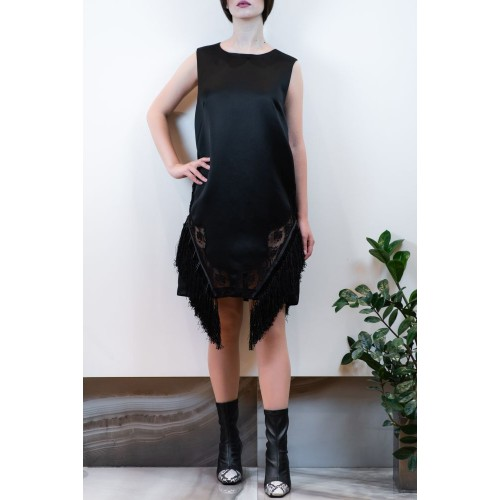 Black Dress with Lace and Fringes