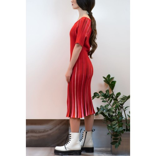 Red Dress with Colorful Pleats