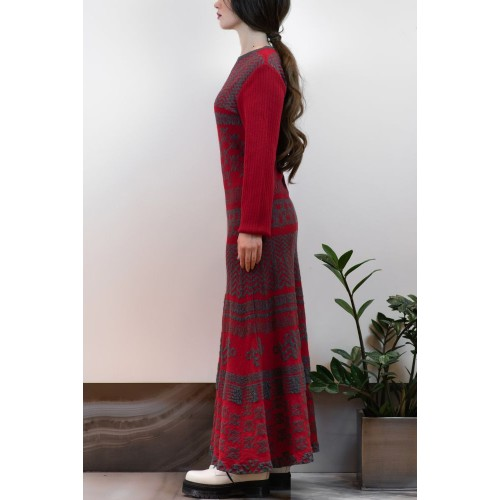 Red Long Dress with Gray Patterns
