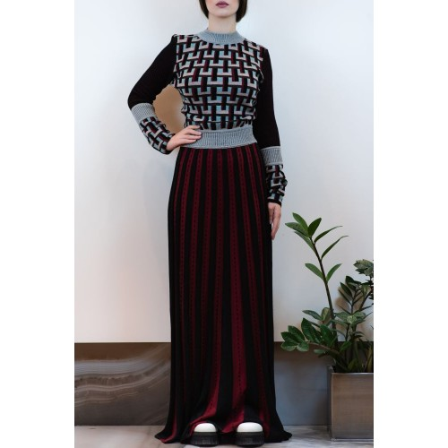 Maxi Dress with Pleats and Patterns