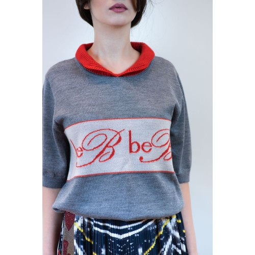 Grey Sweater with Red Details