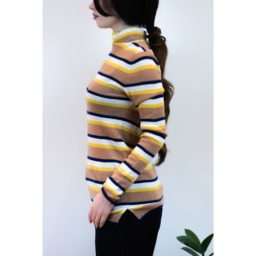 Knitted Blouse with Colorful Stripes