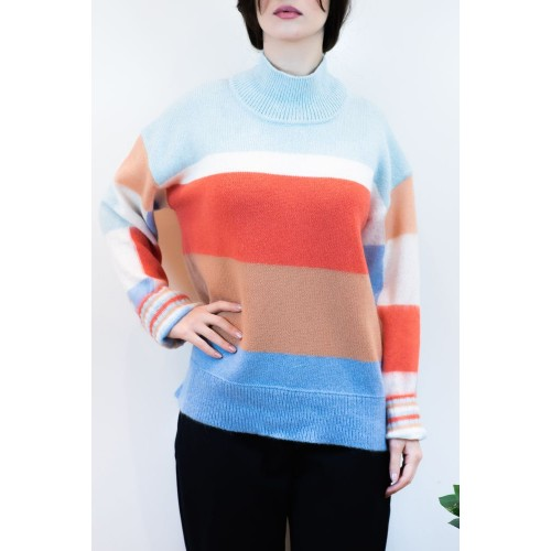 Knitted Zivago Blouse with Wide Stripes