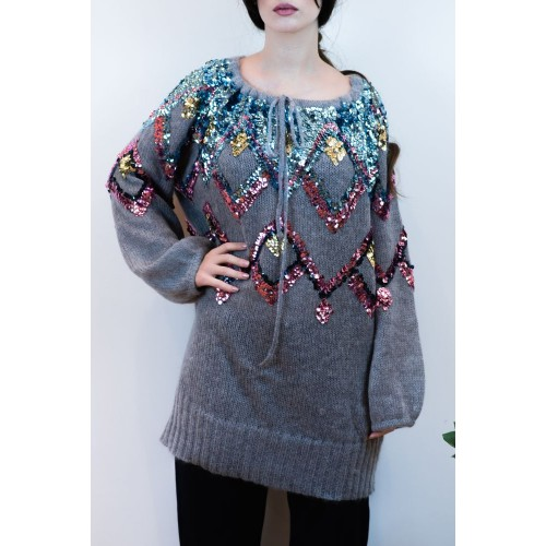 Knitted Grey Blouse with Sequins