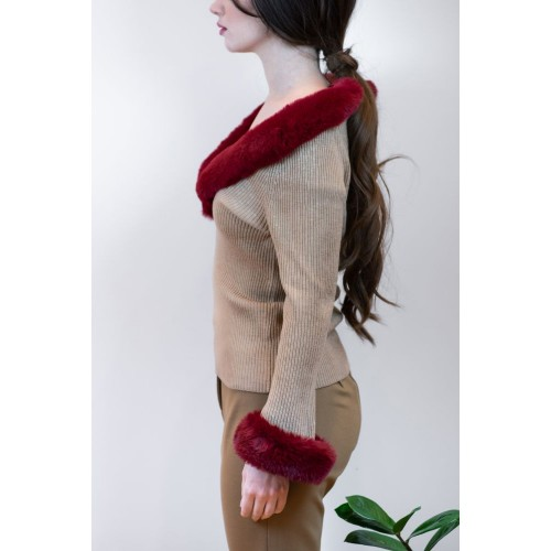 Beige Knitted Blouse with Red Furry Details