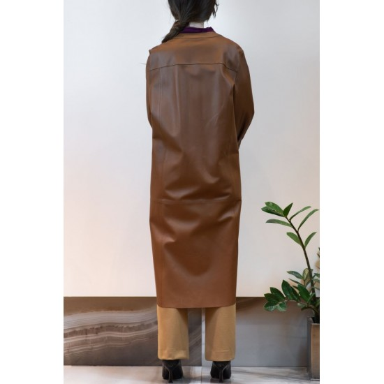 Long Brown Leather Coat