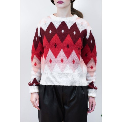 Knitted Blouse with Rhombuses