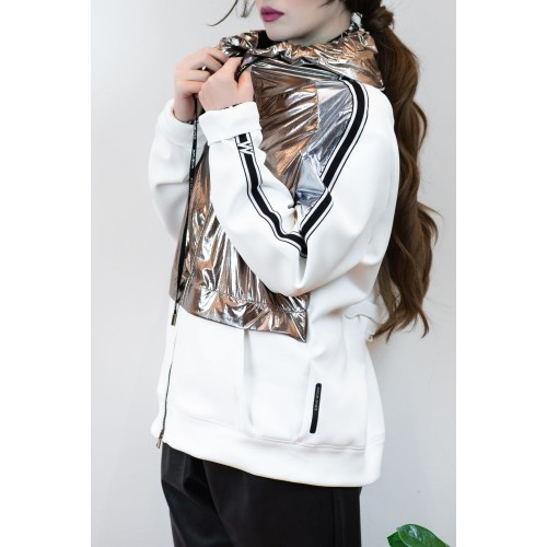 White Cardigan with Hood and Glossy Detail