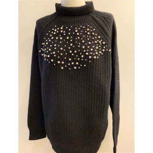 Knitted Blouse Black with Stones Swarovksi