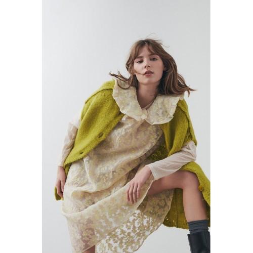 Beige dress with patterns